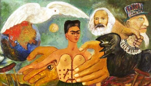 "Cropped version of Frida Kahlo's painting, ""Marxism Will Give Health to the Sick""."