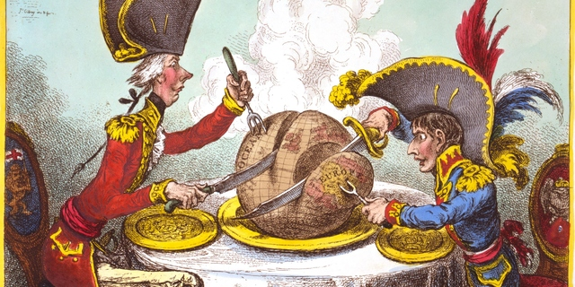 Political cartoon of imperialists dividing up the world on a dinner table